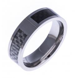 Bague acier homme - fibre de carbone noire et blanche - 8mm - T 56 à 70