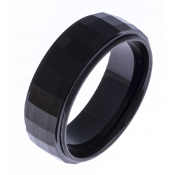 Bague tungstène - finition brillante - facettée - Black IP -  8mm - T 60 à 68