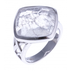 Bague argent rhodié 5g - quartz cristal - T 52 à 60