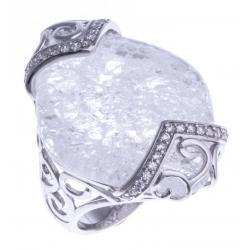 Bague argent rhodié 6,6g - quartz cristal - zircons - T 52 à 60