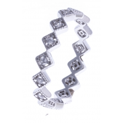 Bague argent rhodié 1,8g - zircons - T 52 à 58
