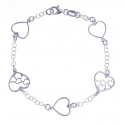"""Bracelet argent rhodié 3,3g - """"5 coeurs"""" - 18,5cm"""