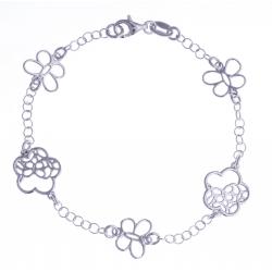 """Bracelet argent rhodié 3,4g - """"papillons et fleurs"""" - 18,5cm"""