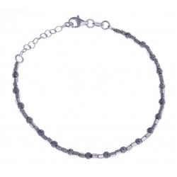 Bracelet argent rhodié 3,9g - 2 tons - rhodié et noir - 17+3cm