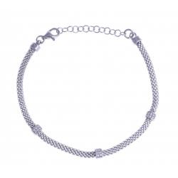 """Bracelet argent rhodié 3,3g - """"batons"""" - """"zircons"""" - 17+3cm"""