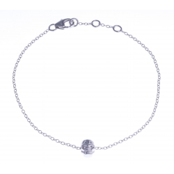 """Bracelet argent rhodié 1,2g – """"tête de mort"""" - zircons - 17+1+1cm"""