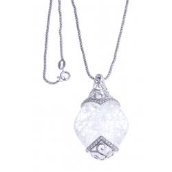 Collier argent rhodié 8,2g - quartz cristal - zircons - 45cm