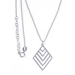 """Collier argent rhodié 4g - """"triangle"""" - 38+5cm"""