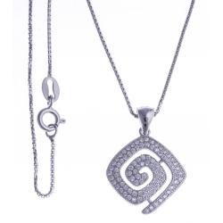 Collier argent rhodié 4,9g - zircons - 40cm