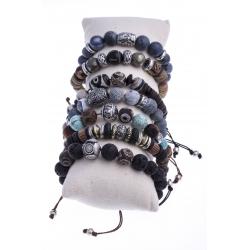 Boudin 7 bracelets fantaisie réglables et pierres naturelles