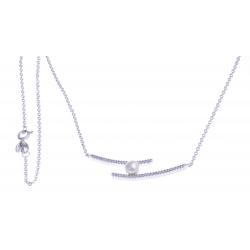 Collier argent rhodié 3,9g - perle de culture blanche – zircons - 40+5cm
