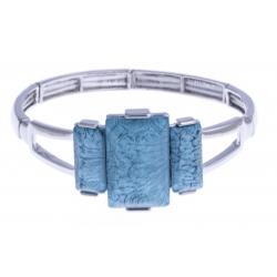 Bracelet fantaisie - résine bleue - élastique