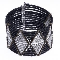 Manchette fantaisie - métal argenté - perles noires - hauteur 38cm