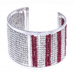 Manchette fantaisie - métal argenté - perles rouges - hauteur 48cm