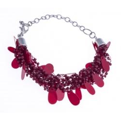 Bracelet fantaisie breloques et perles rouges 17+5cm