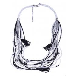 Collier fantaisie - métal argenté - perles noires et transparentes - 65+8cm