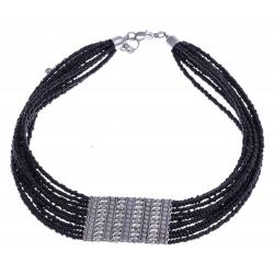 Collier fantaisie - plastron - métal argenté - perles noires - extension 6cm