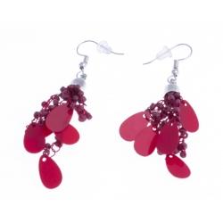 Boucles d'oreille fantaisie breloques et perles rouges - 3 cm