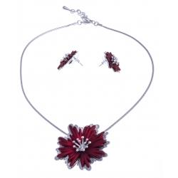"""Parure fantaisie - collier """"fleur rouge"""" - 41+8 cm + boucles assorties"""
