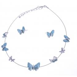 Parure fantaisie - collier résine et epoxy bleu - 41+8 cm + boucles assorties