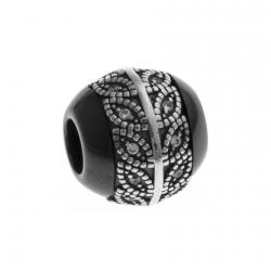 Charm en argent rhodié 1,9g - céramique noire - zircons
