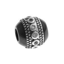 Charm en argent rhodié 1,3g - céramique noire - zircons