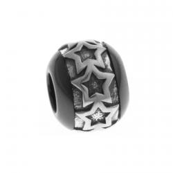 """Charm en argent rhodié 1,1g - céramique noire - """"étoiles"""""""