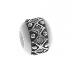 Charm en argent rhodié 1,7g - céramique blanche - zircons