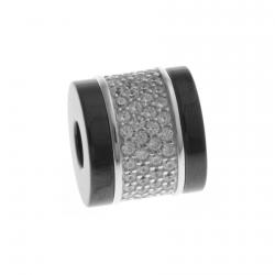 """Charm en argent rhodié 2,9g - céramique noire - zircons - """"screw"""""""