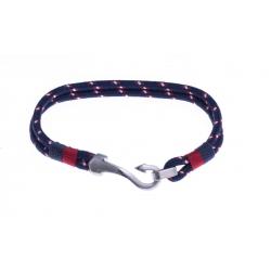 """Bracelet acier homme """"crochet"""" - polyester bleu, blanc et rouge - 20cm"""