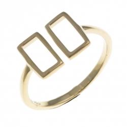 Bague argent rhodié doré 1,6g  - rectangles - T50 à 60