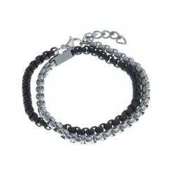 Bracelet acier homme - 2 tours - 2 tons blanc et noirs - 40+3cm