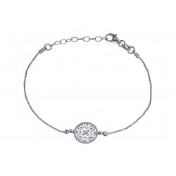 Bracelet argent rhodié 1,8g - rond filigrané - 17+3cm