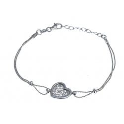Bracelet argent rhodié 3g - coeur filigrané - 17+3cm