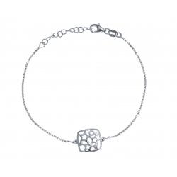 Bracelet argent rhodié 2,6g - carré - 17+3cm