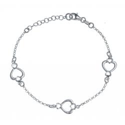 Bracelet argent rhodié 3,4g - 3 cœurs - 17+3cm