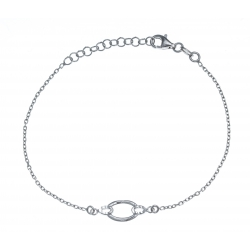 Bracelet argent rhodié 1,9g - ovale - 17+3cm
