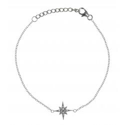 Bracelet argent rhodié 1,4g - zircons - 17+3cm