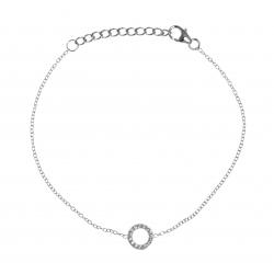 Bracelet argent rhodié 1,2g- rond - zircons - 17+3cm