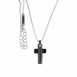 Collier acier homme - croix - 2 tons - 50+5cm