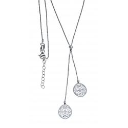Collier argent rhodié 3,4g - ovales filigranés - 40+5cm