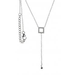 Collier argent rhodié 2g - carré - zircons - 40+4cm