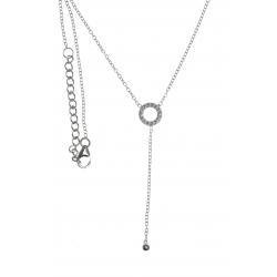 Collier argent rhodié 2g - rond - zircons - 40+4cm
