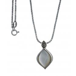 Collier argent rhodié 5,7g - nacre blanche - marcassites - 45cm