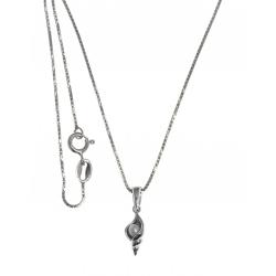 Collier argent rhodié 3,2g - perle véritable - 40cm
