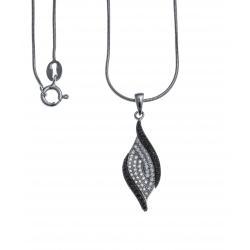 Collier argent rhodié 4,3g - zircons noirs et blancs - 40cm