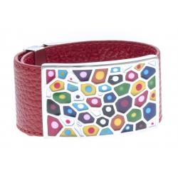 Bracelets acier bracelet acier émaillé cuir rouge - largeur 3cm - longueur 23,5cm