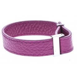 Bracelet acier cuir rose - largeur 1cm - longueur 22cm