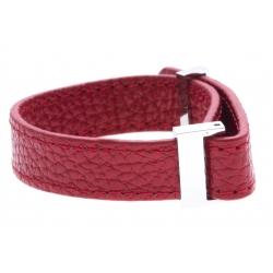 Bracelet acier cuir rouge - largeur 1cm - longueur 22cm