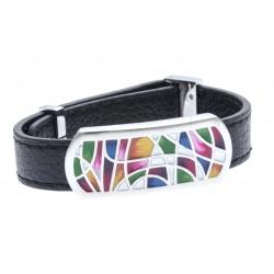 Bracelets acier bracelet acier émaillé cuir - largeur 1cm - longueur 22cm
